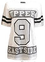 Fast Fashion - T-Shirt Striped À Manches Slogan 9 Upper Eastside Femmes