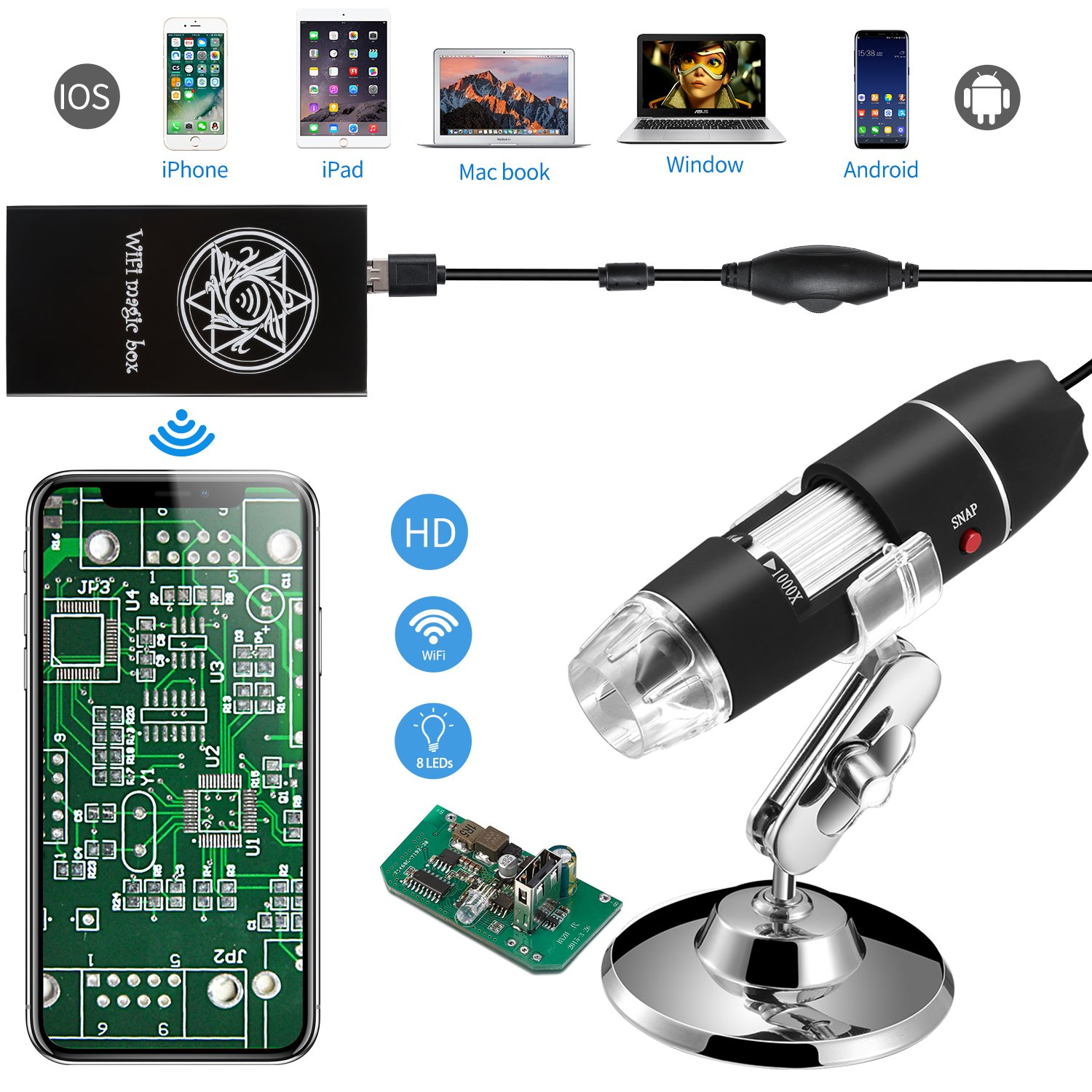 Jiusion WiFi USB Digital Handheld Microscope, 40 to 1000x Wireless Magnification Endoscope 8 LED Mini Camera with Phone Suction, Metal Stand and Case, Compatible with iPhone iPad Mac Window Android by Jiusion