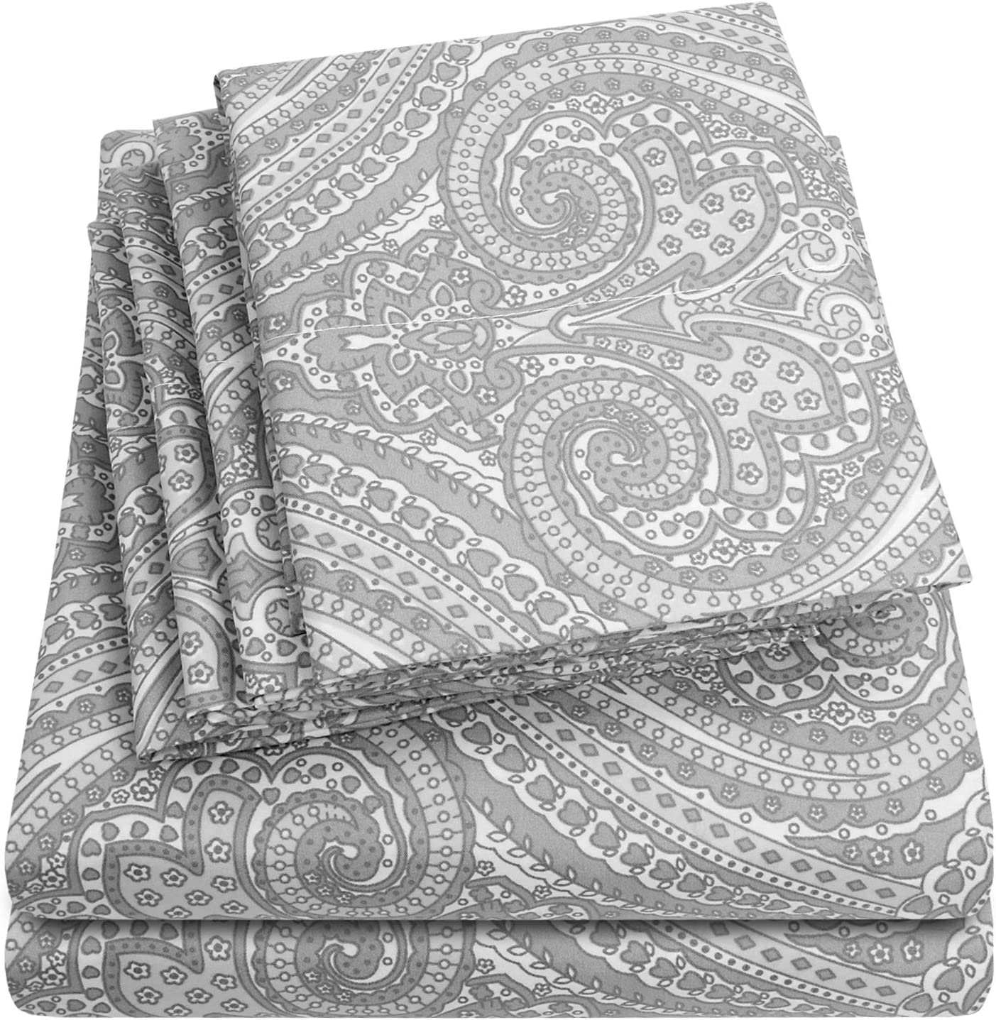King Size Bed Sheets - 6 Piece 1500 Thread Count Fine Brushed Microfiber Deep Pocket King Sheet Set Bedding - 2 Extra Pillow Cases, Great Value, King, Paisley Gray