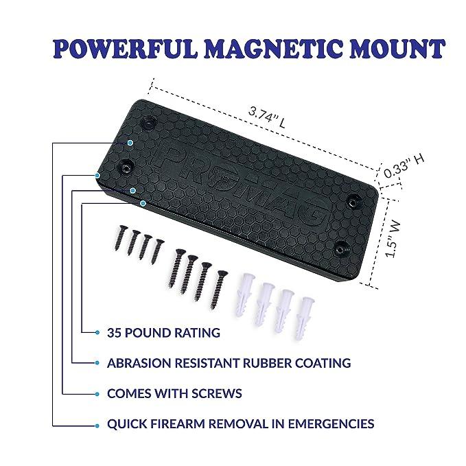 Review ProMag Gun Magnet Mount |2-pack Rubber Coated Magnetic Gun Holder Truck Car Holster Concealed for Handgun Rifle Pistol Revolver Magazine in Vehicle, Vault, Bed, Bedside, Desk with 35 lb Rating