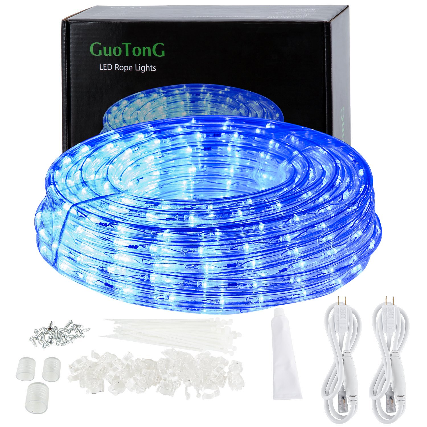 GuoTonG 50ft/15m Plugin Rope Lights, 540 Flexible Blue LEDs, 110V, 2 Wires, Waterproof, Connectable, Power Plug Built-in Fuse Design, Indoor/Outdoor Use, Ideal for Backyards, Decorative Lighting