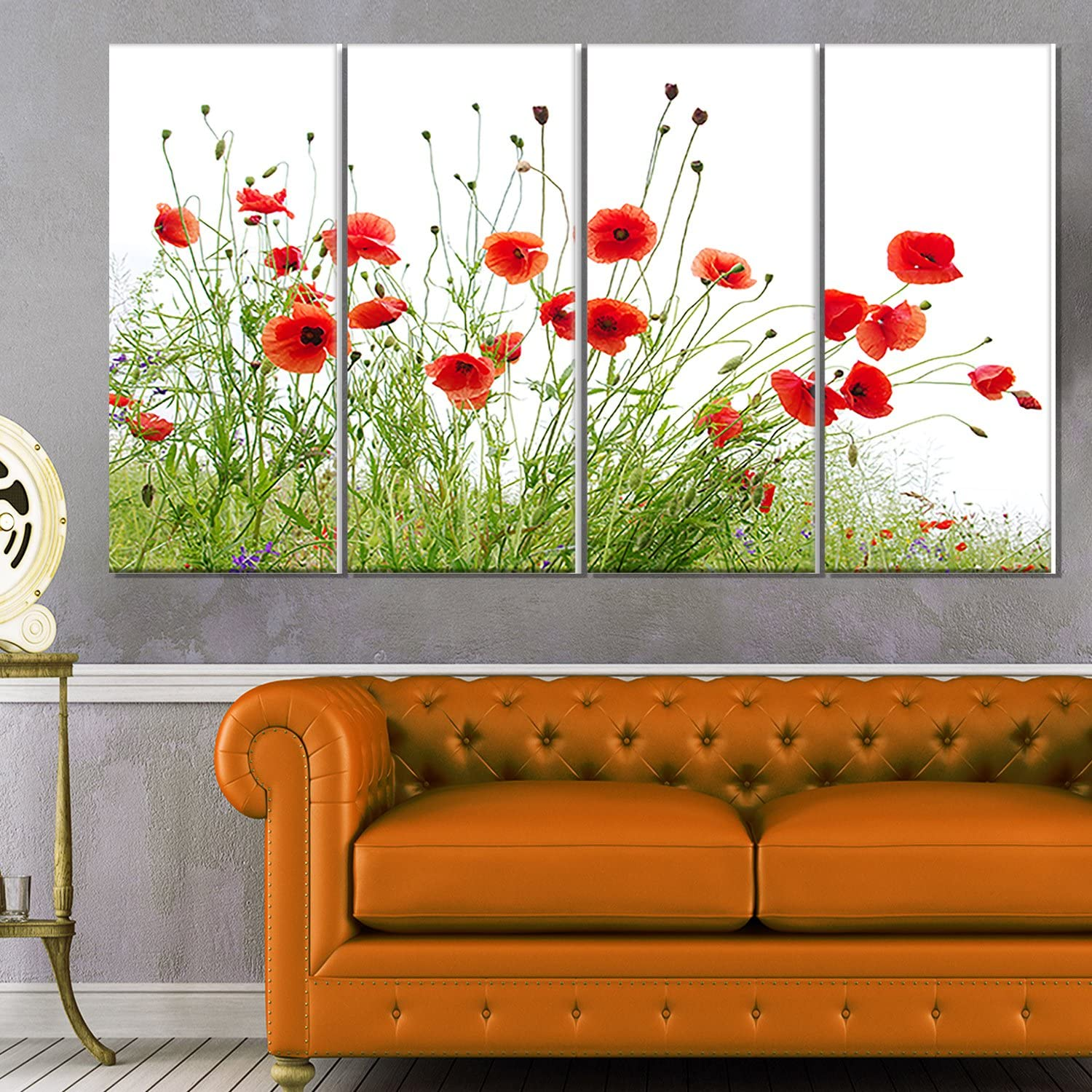Designart Poppies on White Large discharge sale Glossy 5 ☆ popular Background-Modern Floral Metal