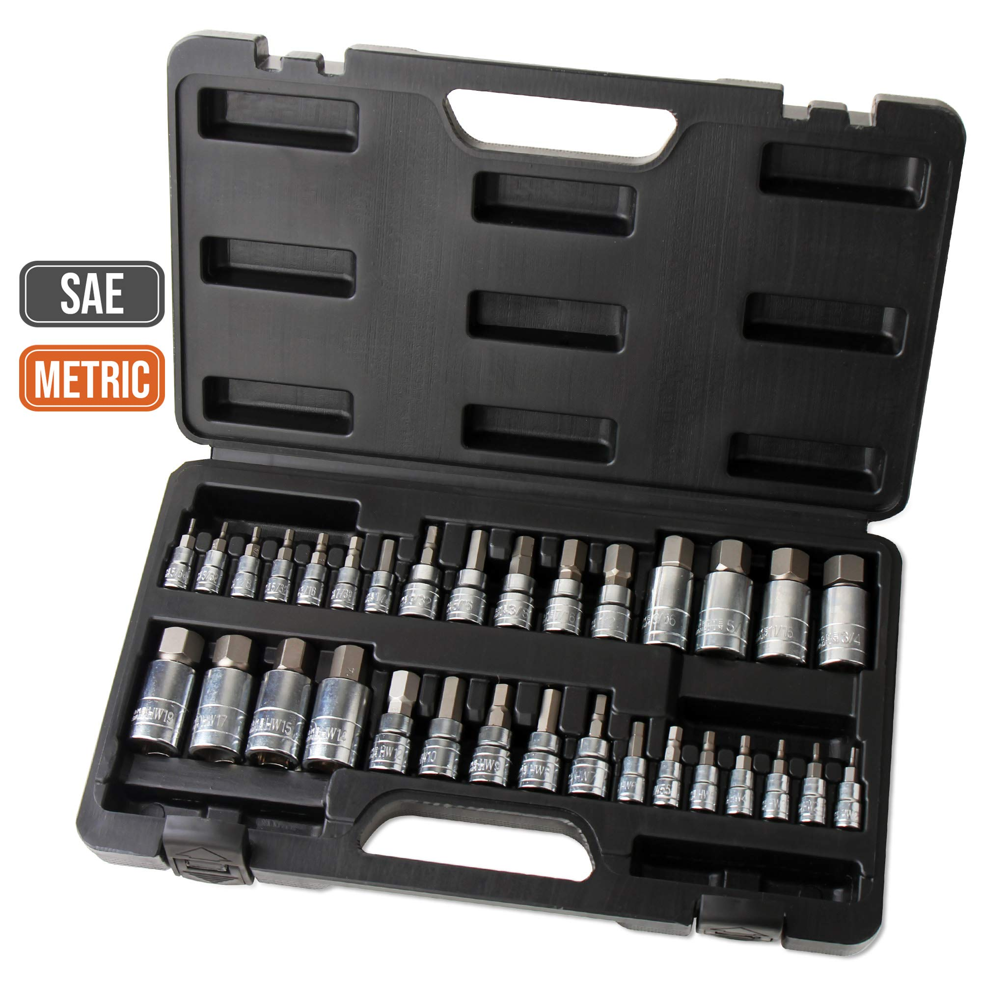 Hi-Spec 32 Piece S2 Steel Hex Bit Socket Set with SAE and Metric 1/4'', 3/8'' & 1/2'' Drive Bit Sockets Chrome Finish for Automotive, Mechanical and Engineering Tasks - All in Sturdy Storage Case by Hi-Spec
