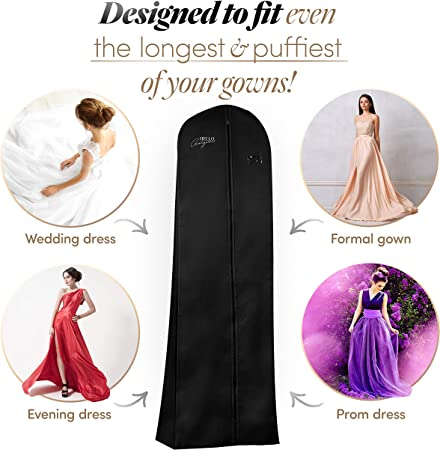 Goal Winners Breathable Wedding Gown Long Dress Bridesmaid Showerproof Garment Clothes Cover Storage Bags 183cm 72 Inch - Navy Blue