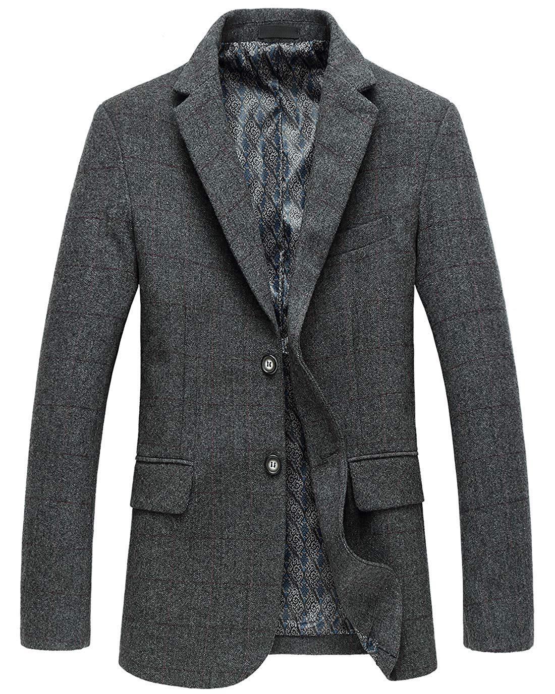 chouyatou Men's Classic Plaid Two-Button Wool Blend Tailored Suit Separate Coat (Medium, Gray) by chouyatou