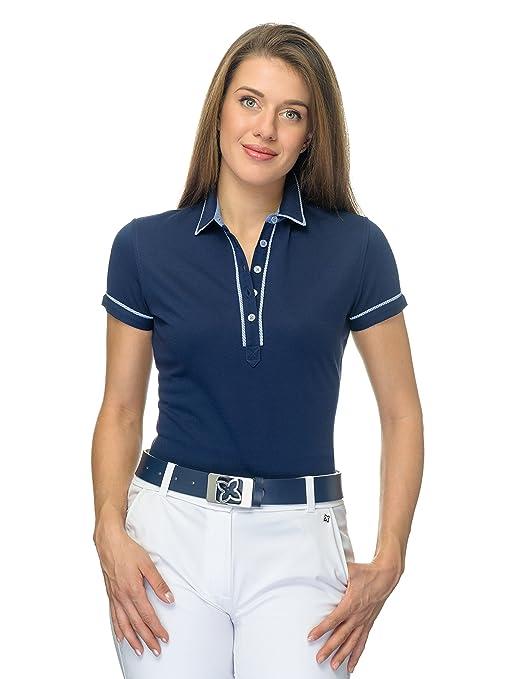JELFY Elena Polo Golf Donna a Maniche Corte in Piquet 100% Cotone Pima con  Dettagli e33bab69529