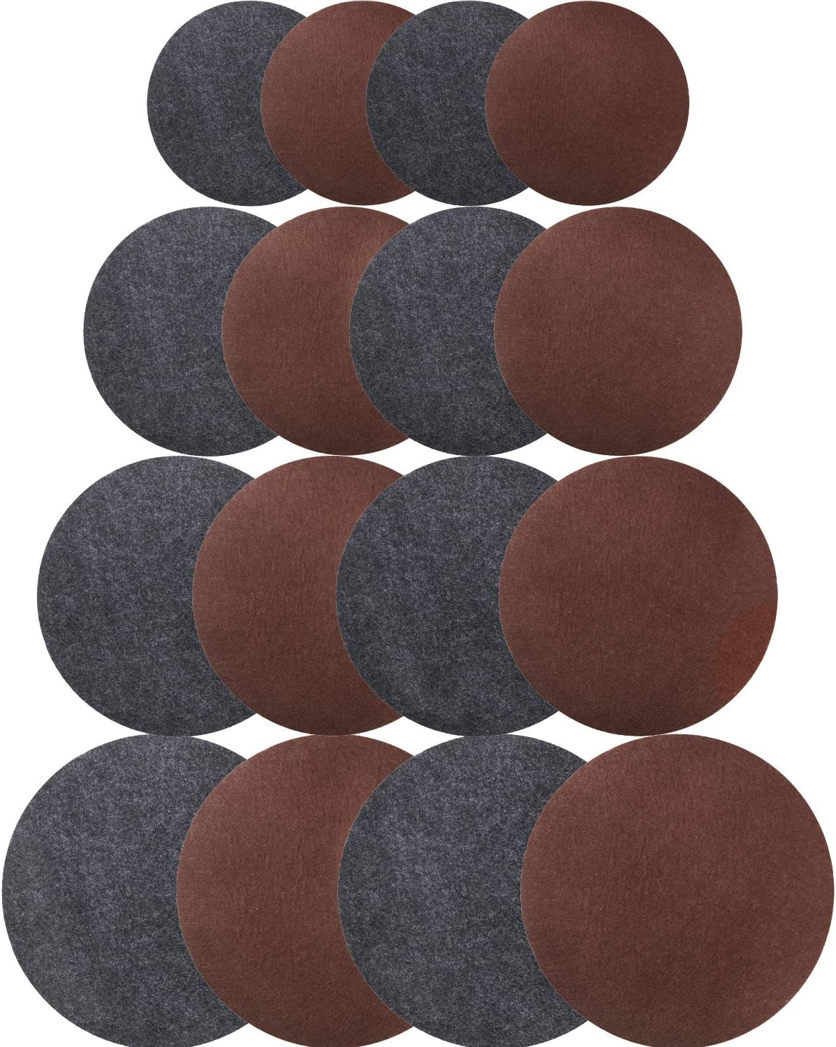 Irenare 16 Pieces Reversible Round Plant Coaster Mat Absorbent Kitchen Hot Pads for Pots, Pans, DIY Craft Supplies, Gray and Brown, 4 Inch, 6 Inch, 8 Inch, 10 Inch