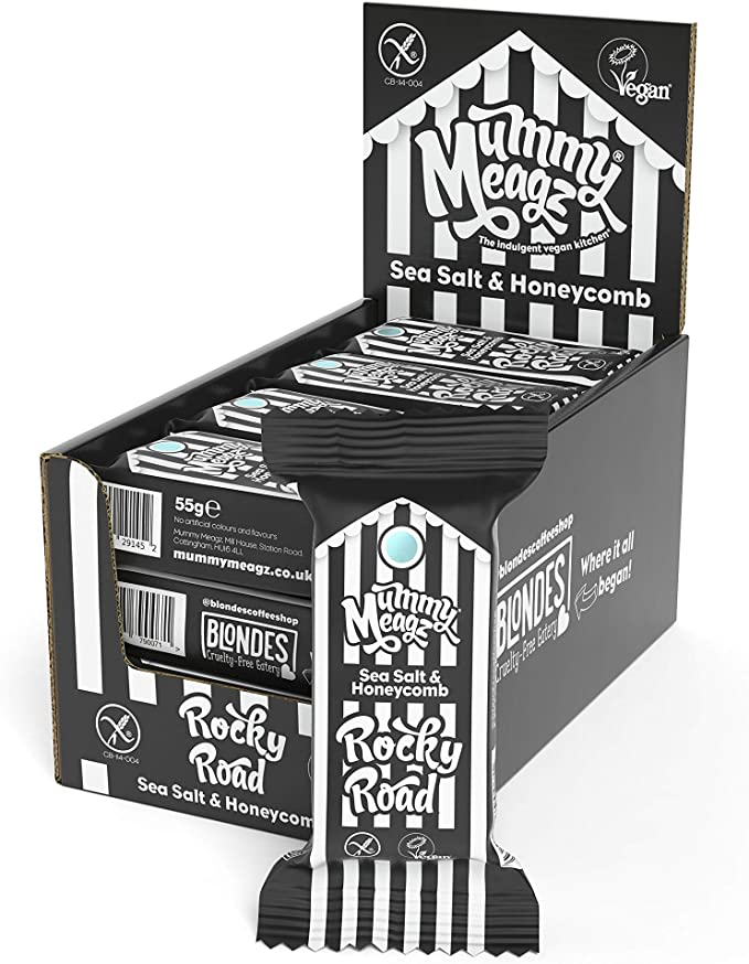 Mummy Meagz Vegan Rocky Road Chocolate Bars 12 X 55g Dairy Free Gluten Free Made In The Uk 12 Pack Sea Salt Honeycomb
