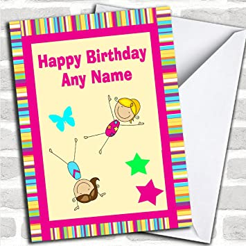 Pink Stripy Gymnastics Customised Birthday Greetings Card Cards Childrens Amazoncouk Office Products