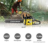 Tinfancy 20 Inch Gas Chainsaw 62CC 2-Stroke