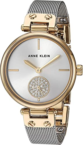 Anne Klein Women's Premium Crystal Accented Mesh Bracelet Watch