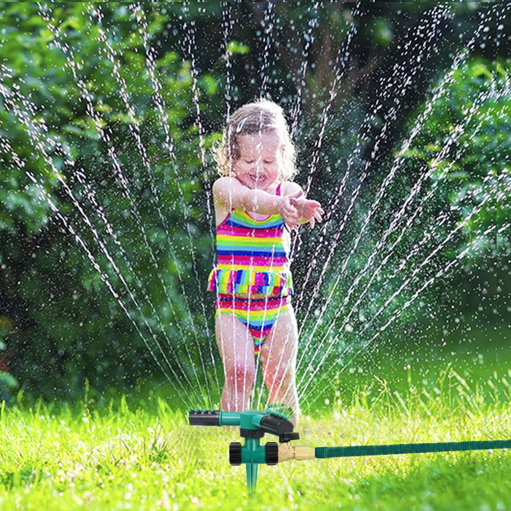 BESTRY-US Lawn Sprinkler,Adjustable Garden Water Sprinklers Automatic 360 Degree Rotating Water Sprinklers Lawn Irrigation System with Leak Free Design Durable 3 Arm Sprayers,Up to 3600 SQ FT Coverage