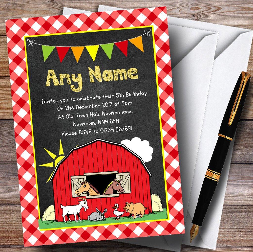 Country Barnyard Farm Animals Chalk Childrens Birthday Party Invitations