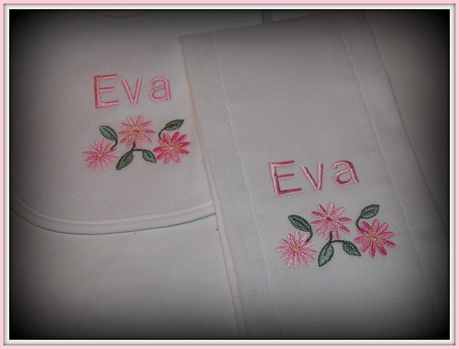 Pretty flowers baby personalized bib and burp set