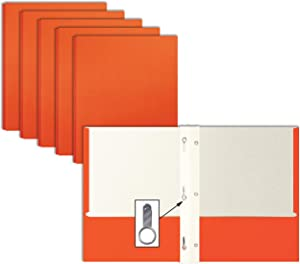 Orange Paper 2 Pocket Folders with Prongs, 50 Pack, by Better Office Products, Matte Texture, Letter Size Paper Folders, 50 Pack, with 3 Metal Prong Fastener Clips, Orange