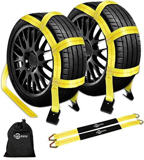 2 Pack 10.000 lbs Working Capacity Tow Dolly Straps with Flat Hooks /& Carrying Bag - Universal Tow Dolly Straps System /& Flat Hook Design - Essential Vehicle Tow Dolly Strap Harness