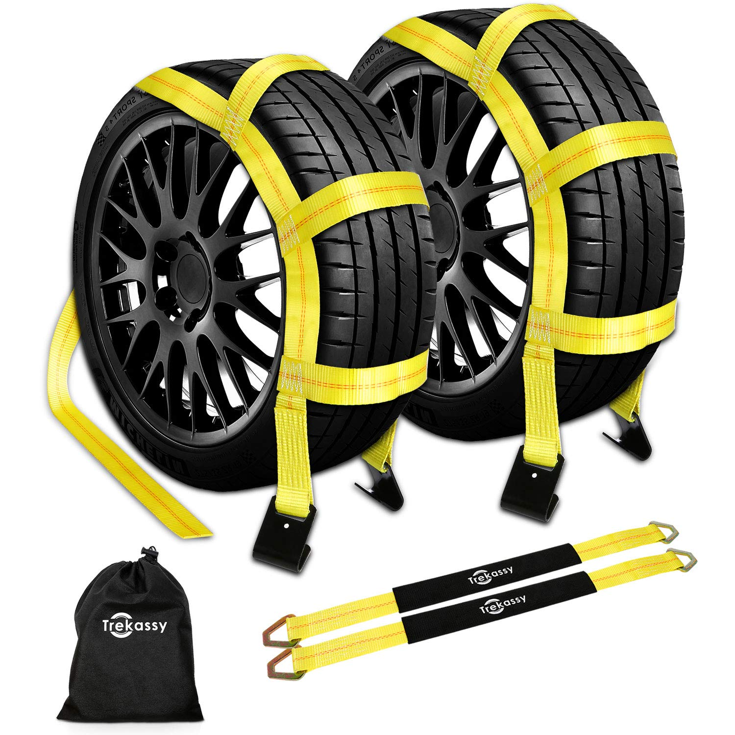 Trekassy Wheel Net Car Tow Dolly Straps with Flat Hooks 2 Pack Heavy Duty for 14''-17'' Tires Include 2 Axle Straps and 1 Carrying Bag by Trekassy