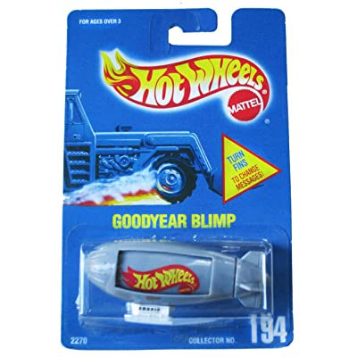 Hot Wheels Goodyear Blimp #194 - All Blue Card - Gray with white gondola: Toys & Games