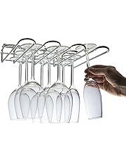 CKB Ltd® - Estante de cristal montado en la pared para debajo del armario – sostiene cualquier tipo de copas de vino y copas de cristal, vidrio, 3 Row - 29cm