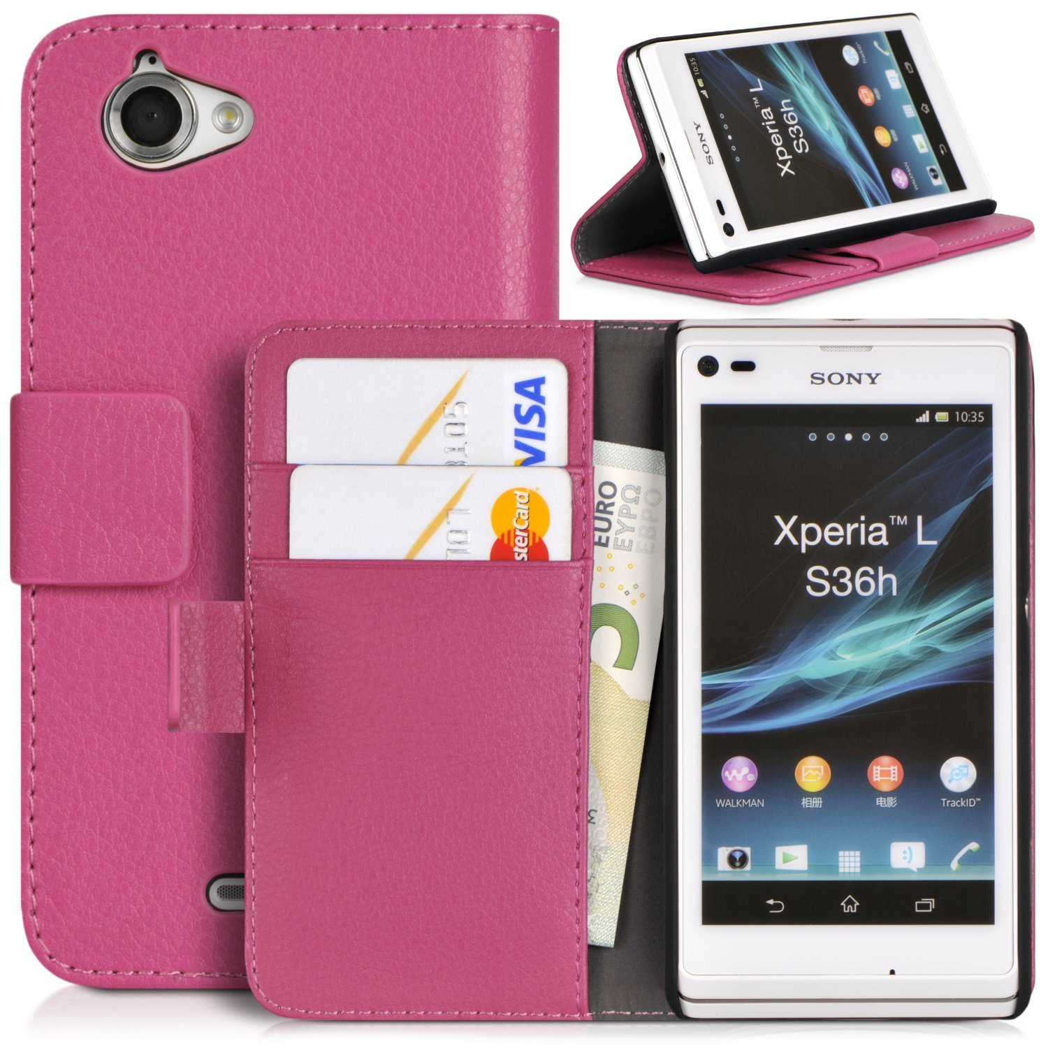newest 0f935 c361d Topratesell Structure Wallet Flip Case Bag Pouch for Sony Xperia L C2104  C2105 with Credit Card Pockets and Stand-up Feature (Hot Pink)