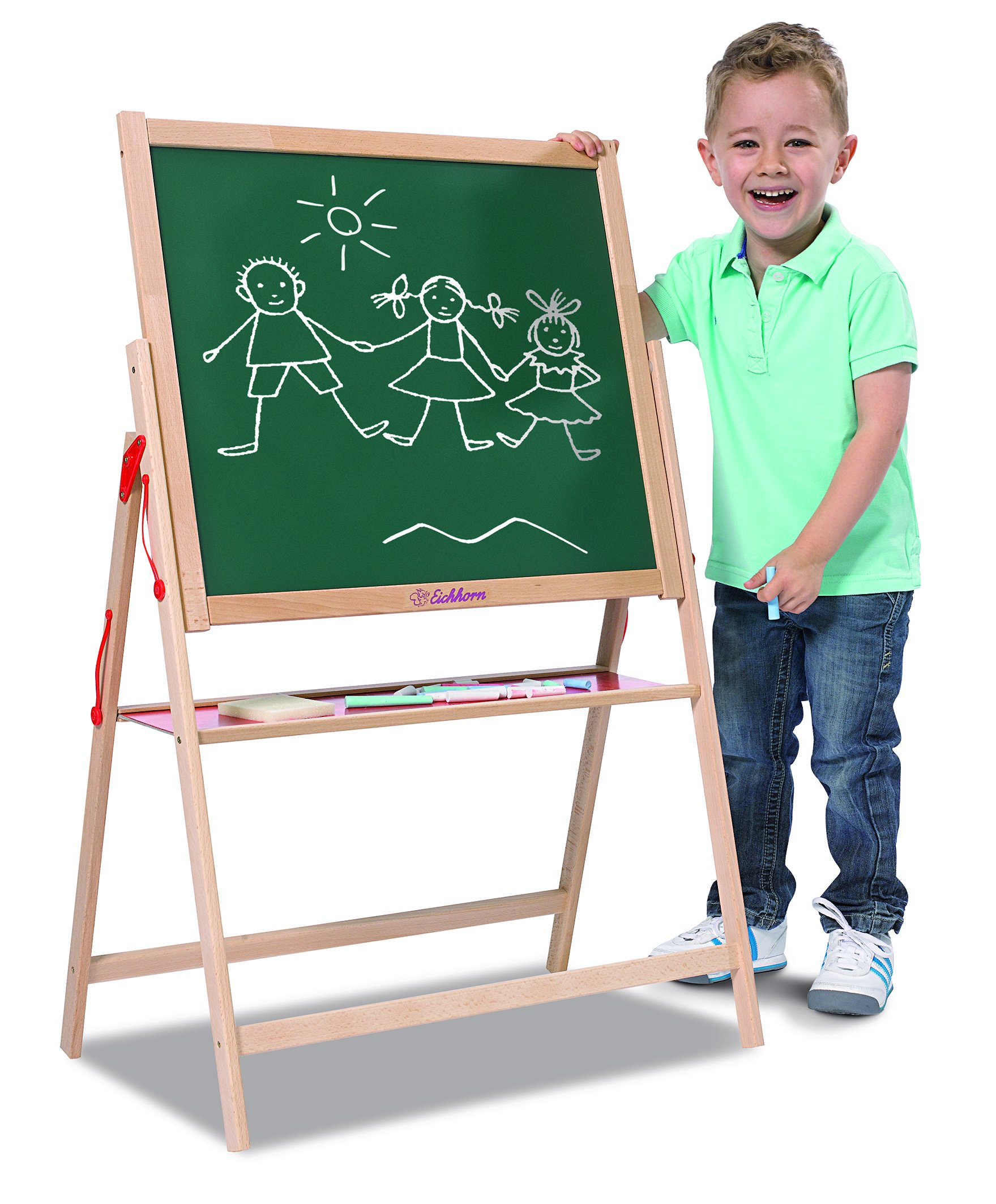 Eichhorn 100002578 Magnetic Board 35 x 56 x 87 cm with 10 Chalks 1 Sponge Beech Wood