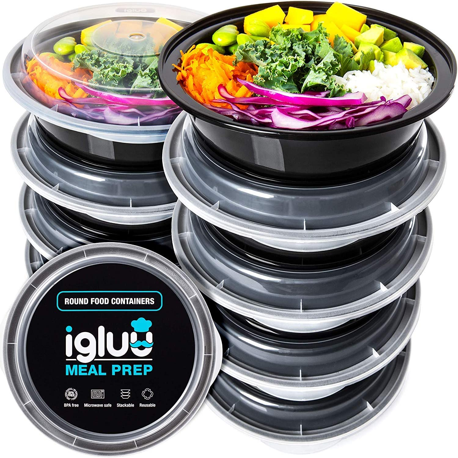 Igluu Meal Prep Round Plastic Containers - Reusable BPA Free Food Containers with Airtight Lids - Microwavable, Freezer and Dishwasher Safe - Ideal Stackable Salad Bowls - Bonus eBook - [10 Pack]