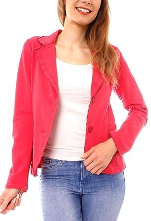 Easy Young Fashion Damen Business Kurzblazer Vintage Baumwoll-Jersey Blazer  Sakko uni Korall L -