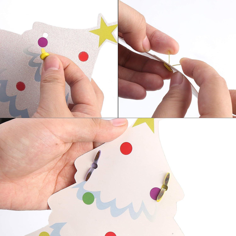 DIYASY 200 Pcs Color Brads,8x17mm Round Metal Fasteners for Scrapbooking Crafts DIY Paper.