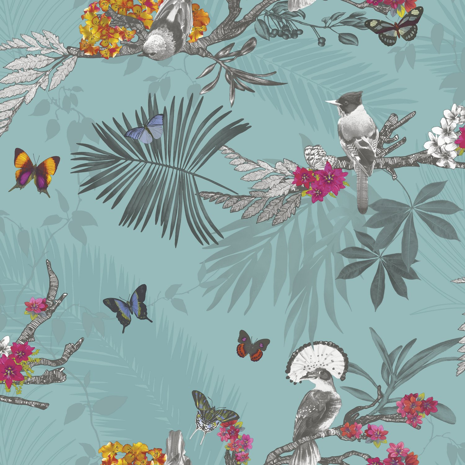 Mystical Forest Wallpaper - Teal - 664801