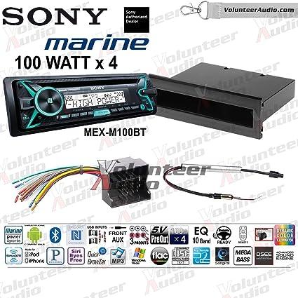 Amazon.com: Sony MEX-M100BT Single Din Marine Radio Install ... on tundra radio wiring, corrado radio wiring, vw radio wiring, xterra radio wiring, sx4 radio wiring,