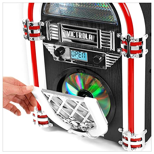 Retro Desktop Jukebox with CD Player, FM Radio, Bluetooth,...