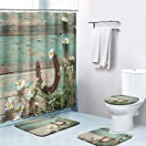 Britimes 4 Piece Shower Curtain Sets, Western Rustic with Non-Slip Rugs, Toilet Lid Cover and Bath Mat, Durable and Waterproo