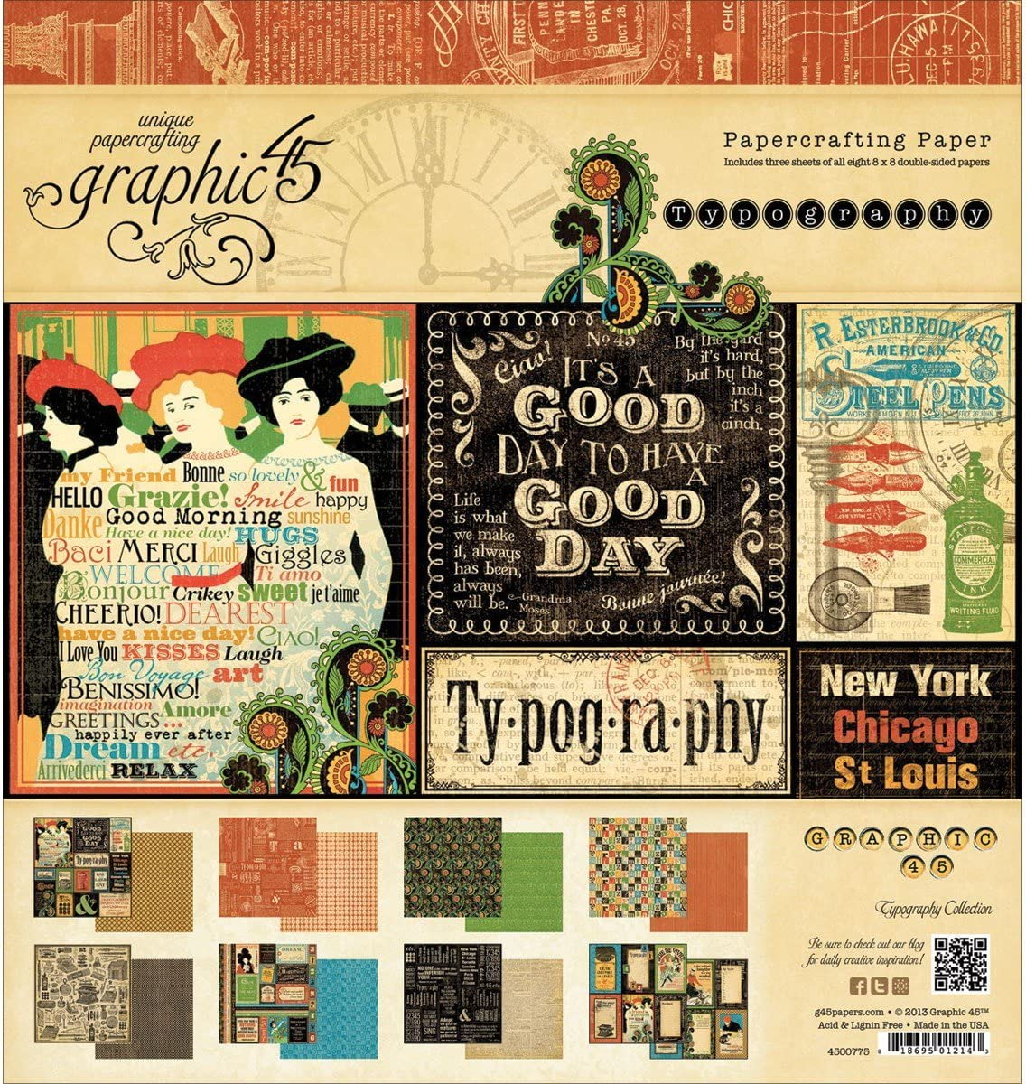 Graphic 45 Typography Pad for Arts and Crafts, 8 by 8-Inch