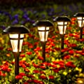 GIGALUMI 6 Pcs Solar Lights Outdoor, Bronze Finshed, Glass Lamp