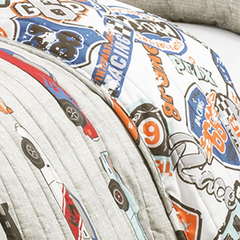 amazoncom lush decor 16t000545 2 piece race cars quilt set fullqueen blueorange home u0026 kitchen