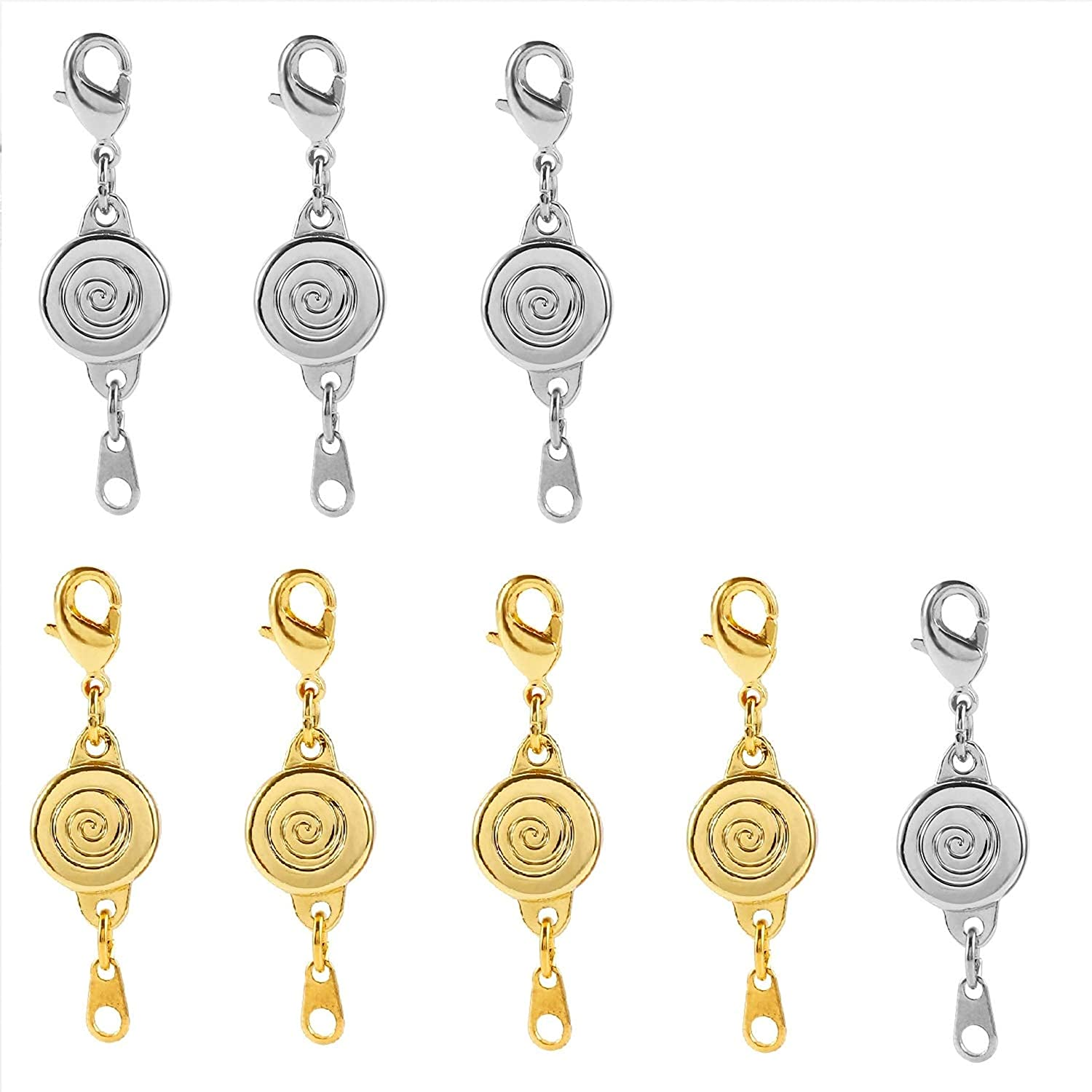 Sparik Enjoy 8 pcs Magnetic Necklace Clasp Extender Gold and Silver Color Tone for Jewelry Bracelet Gold+Silver - Screw