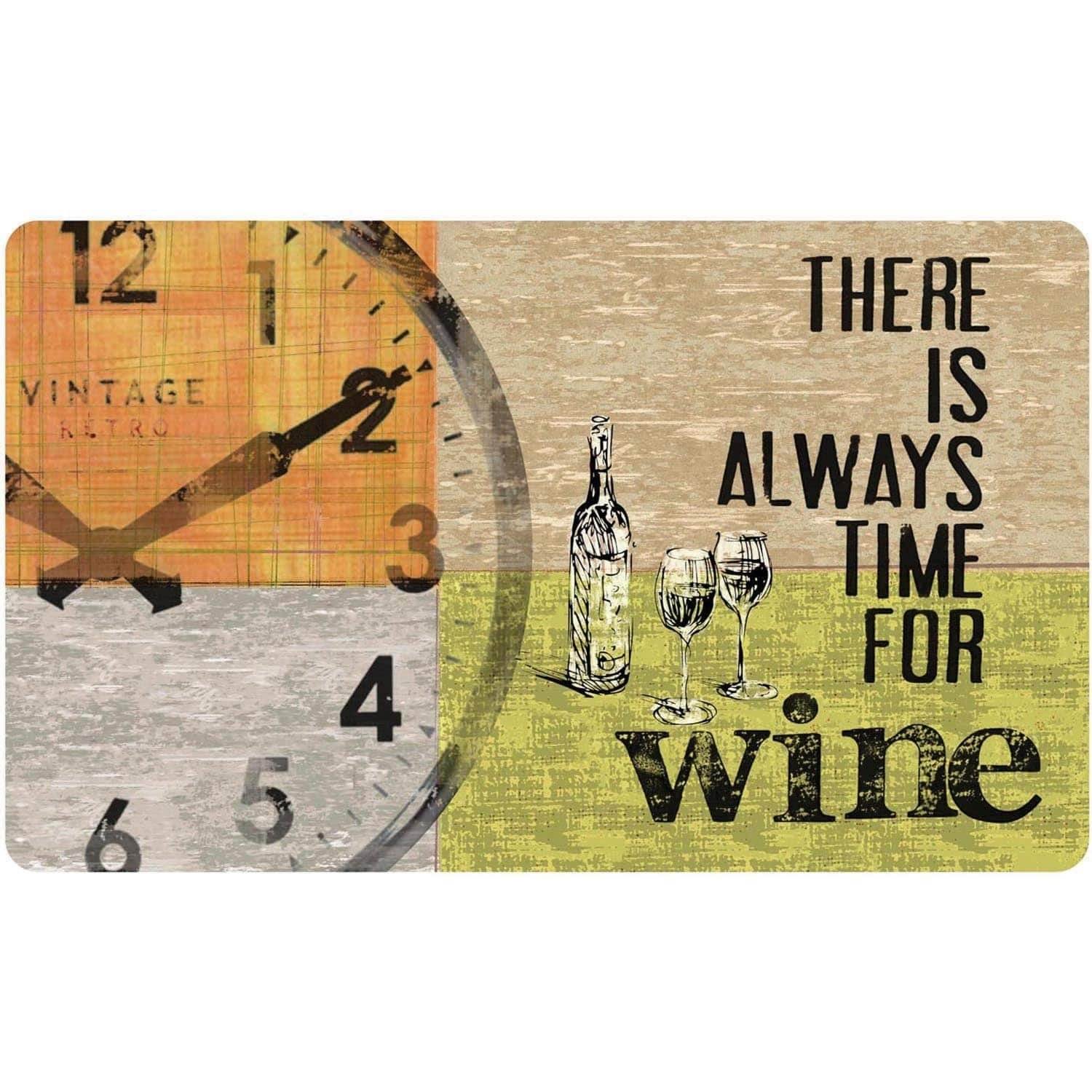 1 Piece 18 x 30 Green Grey Beige Orange Black There Is Always Time For Wine Kitchen Mat Rectangle, Indoor Modern Vintage Wineoclock Carpet Mat, Country Novelty Cottage Memory Foam Polyester