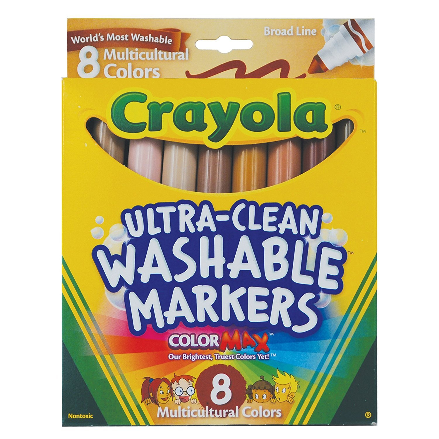 Crayola Multicultural Colors Broad Line Washable Markers, Art Tools 8 ct. Case of 24