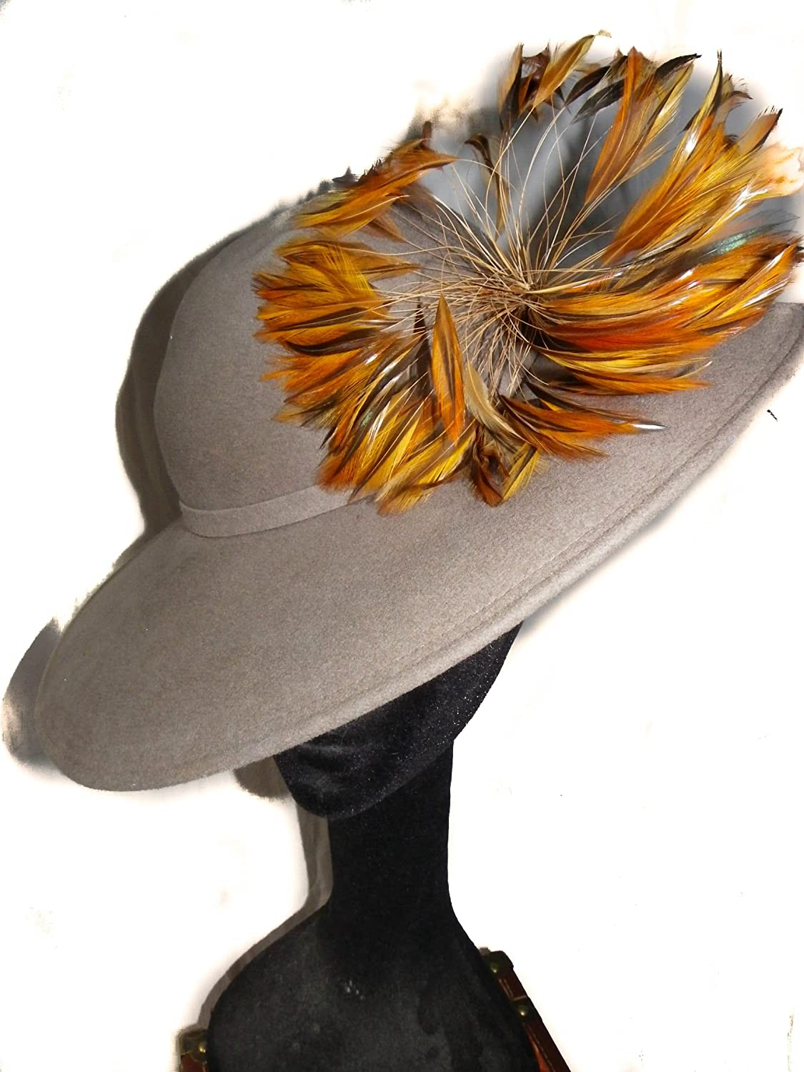 Wide Brim Wool Felt Hat, Fall's Elegance In Dark Taupe With Shades Of Pumpkins