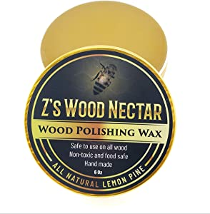 Z's Wood Nectar - All Natural Beeswax Furniture Polish - Wood Seasoning Beeswax - Non-Toxic Tung Oil - Butcher Block Conditioner - Paste Wax - Lemon & Pine Essential Oil