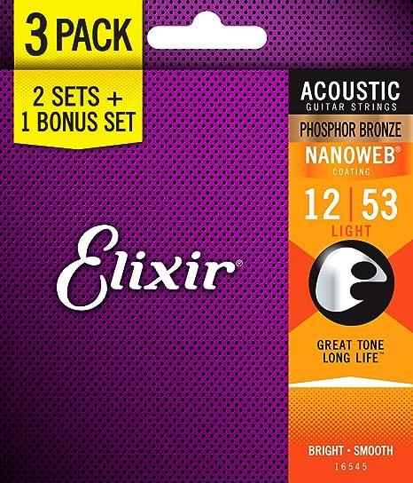 Elixir Strings 16545 Acoustic Phosphor Bronze Guitar Strings with NANOWEB  Coating, 3 Pack, Light ( 012- 053)
