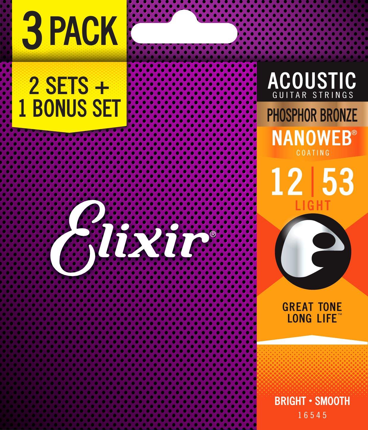 Elixir Strings 16545 Acoustic Phosphor Bronze Guitar Strings with NANOWEB Coating, 3 Pack, Light (.012-.053)
