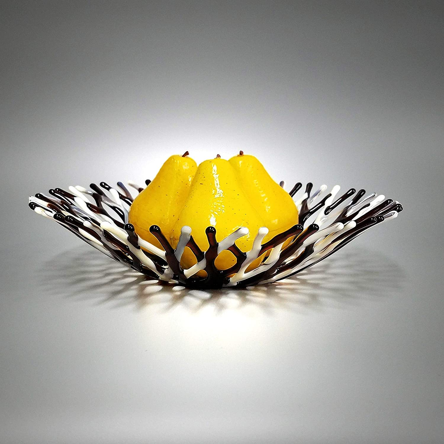 Lacy Glass Art Fruit Bowl in Almond Tan Gray and Brown