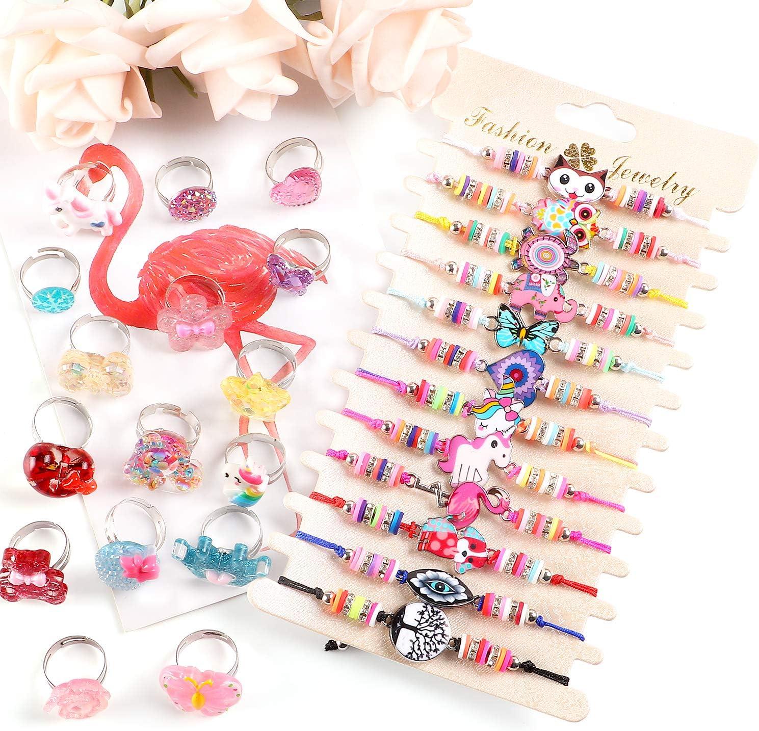 vamei 28PCS Friendship Bracelets Girls with Rings Unicorn Butterfly Bracelets Adjustable Braided Bracelet Cute Pink Jewellery Bracelets for Girls Party Bag Fillers for Kids
