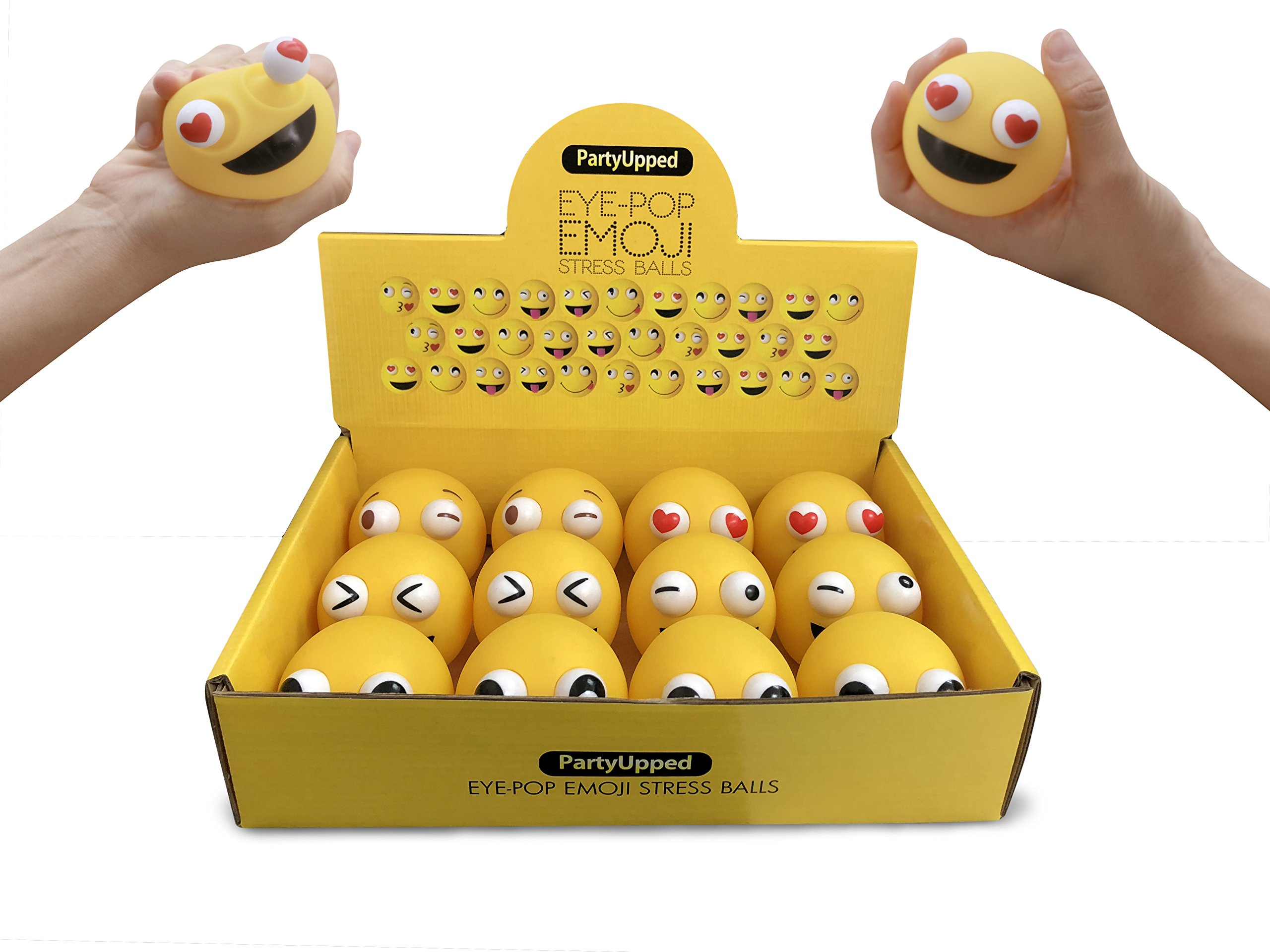 """PartyUpped Emoji Stress Balls Eye-Pop (12-Pack) 2.35"""" Fun, Squishy Stress, Tension, Anxiety Relief 