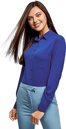 oodji Ultra Mujer Blusa Recta con Bolsillo en el Pecho