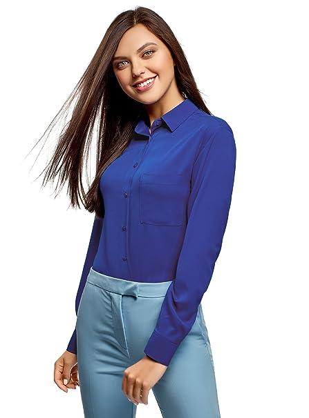 oodji Ultra Mujer Blusa Recta con Bolsillo en el Pecho, Azul, ES 34 /