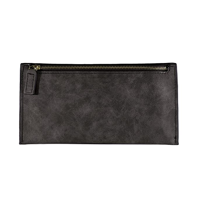 Fashion Ladies Wallet Billfold Real Natural Genuine Leather Zipper Long One  Compartment Woman Purse (Black 8f66955269