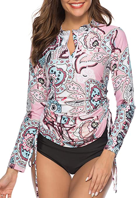Rash Guard Floral Print Swimsuit Tops Caracilia Womens Short Sleeve Rashguard Swimwear UPF 50 No Bottom