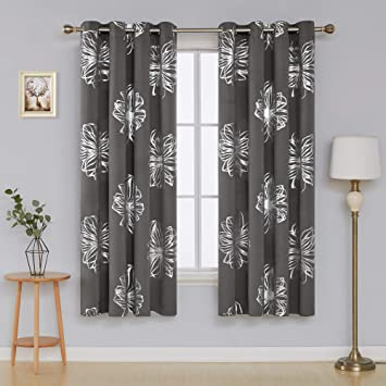 Deconovo Light Grey Flower Foil Printed Thermal Insulated Bedroom Grommet  Blackout Curtains Drapes 52u0026quot; W